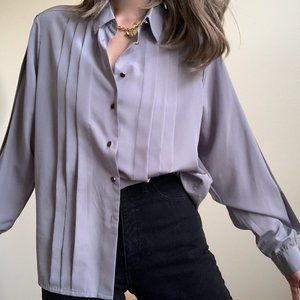 Vintage Tops - Stone Pleated Puff Sleeve Blouse Button Up
